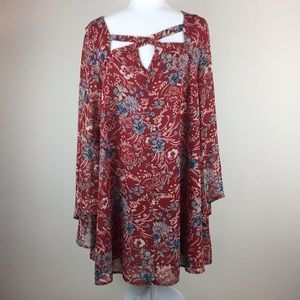 Umgee red floral top with bell sleeves